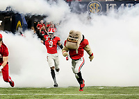ATLANTA, GA - DECEMBER 7: Hairy Dawg and the Georgia Bulldogs take the field during a game between Georgia Bulldogs and LSU Tigers at Mercedes Benz Stadium on December 7, 2019 in Atlanta, Georgia.