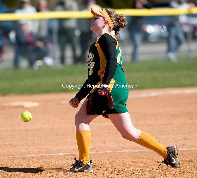 SEYMOUR, CT- 20 APRIL 07- 042007JT15- <br /> Holy Cross pitcher Olivia McGrath during Friday's game at Seymour.<br /> Josalee Thrift Republican-American