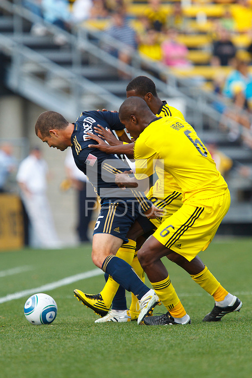 24 OCTOBER 2010:  Philadelphia Union forward Alejandro Moreno (15) is defended by Columbus Crew defender Andy Iro (6) during MLS soccer game at Crew Stadium in Columbus, Ohio on August 28, 2010.
