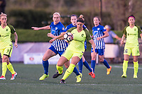 Boston, MA - Saturday April 29, 2017: Natasha Dowie and Merritt Mathias during a regular season National Women's Soccer League (NWSL) match between the Boston Breakers and Seattle Reign FC at Jordan Field.