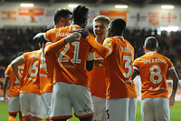 Blackpool's Armand Gnanduillet celebrates scoring the opening goal with team-mates<br /> <br /> Photographer Kevin Barnes/CameraSport<br /> <br /> The EFL Sky Bet League One - Blackpool v Gillingham - Tuesday 11th February 2020 - Bloomfield Road - Blackpool<br /> <br /> World Copyright © 2020 CameraSport. All rights reserved. 43 Linden Ave. Countesthorpe. Leicester. England. LE8 5PG - Tel: +44 (0) 116 277 4147 - admin@camerasport.com - www.camerasport.com