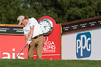Miguel Angel Jimenez (ESP) in action on the 14th hole during second round at the Omega European Masters, Golf Club Crans-sur-Sierre, Crans-Montana, Valais, Switzerland. 30/08/19.<br /> Picture Stefano DiMaria / Golffile.ie<br /> <br /> All photo usage must carry mandatory copyright credit (© Golffile | Stefano DiMaria)