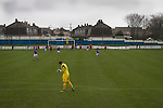 Port Talbot Town (in blue) score an early penally against Caerau Ely in a Welsh Cup fourth round tie at the Genquip Stadium, formerly known as Victoria Road. Formed by exiled Scots in 1901 as Port Talbot Athletic, they competed in local and regional football before being promoted to the League of Wales  in 2000 and changing their name to the current version a year later. Town won this tie 3-0 against their opponents from the Welsh League, one level below the welsh Premier League where Port Talbot competed, watched by a crowd of 113.