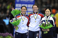 SCHAATSEN: HEERENVEEN: 14-12-2014, IJsstadion Thialf, ISU World Cup Speedskating, Podium Ladies 500m Division A, Brittany Bowe (USA), Heather Richardson (USA), Sang-Hwa Lee (KOR), ©foto Martin de Jong