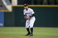 Charlotte Knights second baseman Yoan Moncada (10) on defense against the Indianapolis Indians at BB&T BallPark on June 16, 2017 in Charlotte, North Carolina.  The Knights defeated the Indians 12-4.  (Brian Westerholt/Four Seam Images)