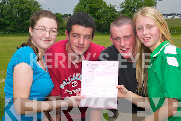 REVIEW: Killarney Community College students Christina Murhill, John Allman, Robert McCarthy and Aoife OConnell (all Killarney) review the English paper after finishing the first Leaving Cert exam on Wednesday..