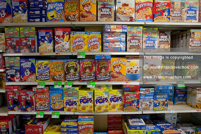 Various brands of cereal are seen in the breakfast aisle of a Metro grocery store in Quebec city March 4, 2009.