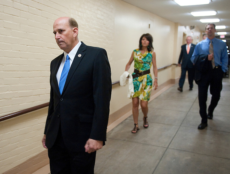UNITED STATES - JULY 29: Rep. Louie Gohmert, R-Texas, arrives for the House Republicans' caucus meeting in the basement of the Capitol on Friday, July 29, 2011. (Photo By Bill Clark/Roll Call)