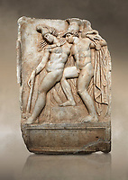 Roman Sebasteion relief sculpture of Achilles and a dying Amazon, Aphrodisias Museum, Aphrodisias, Turkey.   Against an art background.  <br /> <br /> Achilles supports the dying Amazon queen Penthesilea whom he has mortally wounded. Her double headed axe slips from her hands. The queen had come to fight against the Greeks in the Trojan war and Achilles fell in love with her.