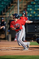 Mississippi Braves Ryan Casteel (26) at bat during a Southern League game against the Jackson Generals on July 23, 2019 at The Ballpark at Jackson in Jackson, Tennessee.  Jackson defeated Mississippi 2-0 in the first game of a doubleheader.  (Mike Janes/Four Seam Images)