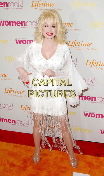 DOLLY PARTON.4th Annual Women Rock! Songs from the Movies Concert for the fight against breast cancer, Kodak Theatre .full length, full-length, white minidress, tassles, floaty sleeves.www.capitalpictures.com.sales@capitalpictures.com.©Capital Pictures.