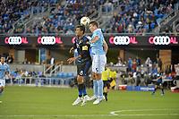 San Jose, CA - Saturday September 15, 2018: Chris Wondolowski, Matt Besler during a Major League Soccer (MLS) match between the San Jose Earthquakes and Sporting Kansas City at Avaya Stadium.