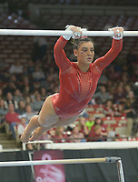 NWA Democrat-Gazette/ANDY SHUPE<br /> Arkansas' Sophia Carter competes in the bars Saturday, Jan. 5, 2019, during the Razorbacks' meet with No. 2 Oklahoma in Barnhill Arena in Fayetteville. Visit nwadg.com/photos to see more photographs from the meet.
