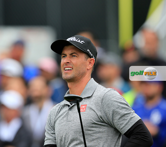 Adam Scott (AUS) tees off the 10th tee during Saturday's rain delayed Round 2 of the 2017 Genesis Open held at The Riviera Country Club, Los Angeles, California, USA. 18th February 2017.<br /> Picture: Eoin Clarke | Golffile<br /> <br /> <br /> All photos usage must carry mandatory copyright credit (&copy; Golffile | Eoin Clarke)