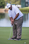 Jerome Bettis putts on the tenth hole during the American Century Championship at Edgewood Tahoe Golf Course in Stateline, Nevada, Saturday, July 14, 2018.