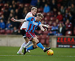 James McEveley of Sheffield Utd tackles Dave Syers of Scunthorpe Utd - English League One - Scunthorpe Utd vs Sheffield Utd - Glandford Park Stadium - Scunthorpe - England - 19th December 2015 - Pic Simon Bellis/Sportimage