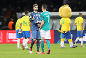 27th March 2018, Olympiastadion, Berlin, Germany; International Football Friendly, Germany versus Brazil; Kevin Trapp and Julian Draxler (Germany) shakes hands at the finla whistle, even though they lost