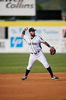 Binghamton Rumble Ponies second baseman Luis Guillorme (3) throws to first base during a game against the Altoona Curve on May 17, 2017 at NYSEG Stadium in Binghamton, New York.  Altoona defeated Binghamton 8-6.  (Mike Janes/Four Seam Images)