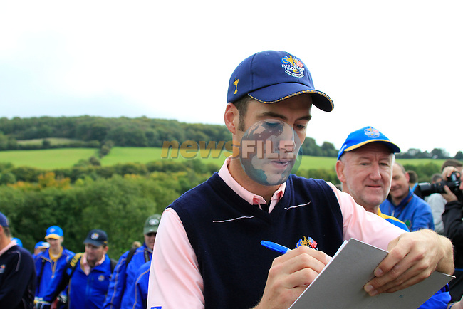 Ross Fisher signs autographs during Practice Day 3 of the The 2010 Ryder Cup at the Celtic Manor, Newport, Wales, 29th September 2010..(Picture Eoin Clarke/www.golffile.ie)