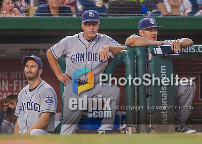 23 July 2016: San Diego Padres coach Eddie Rodriguez watches play from the dugout during a game against the Washington Nationals at Nationals Park in Washington, DC. The Nationals defeated the Padres 3-2 to tie their series at one game apiece. Mandatory Credit: Ed Wolfstein Photo *** RAW (NEF) Image File Available ***