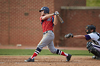 Brady Hall (14) of the NJIT Highlanders follows through on his swing against the High Point Panthers at Williard Stadium on February 18, 2017 in High Point, North Carolina. The Panthers defeated the Highlanders 11-0 in game one of a double-header. (Brian Westerholt/Four Seam Images)