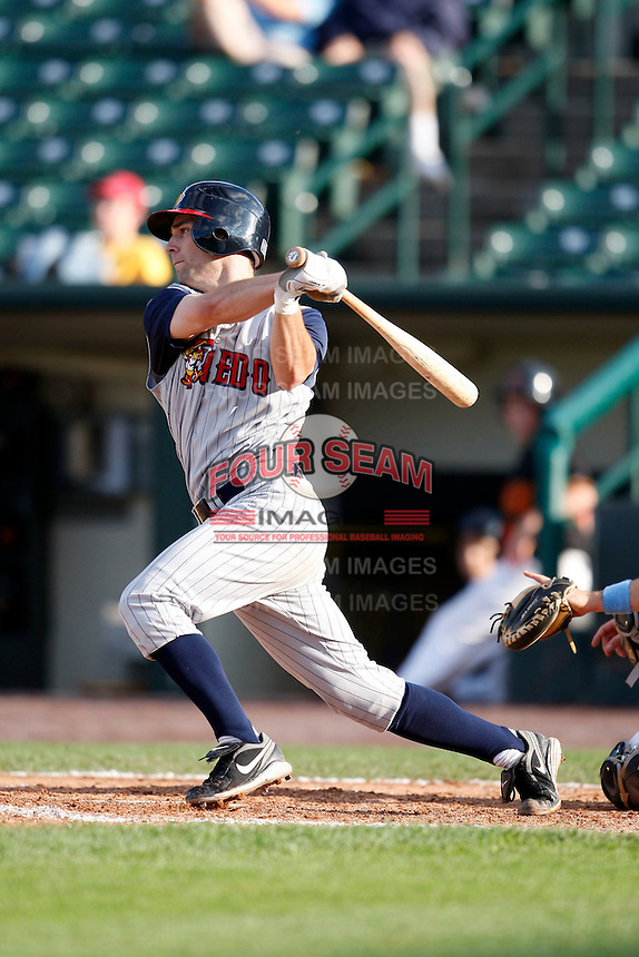 June 21, 2009:  Second Baseman Scott Sizemore of the Toledo Mud Hens at bat during a game at Frontier Field in Rochester, NY.  The Toledo Mud Hens are the International League Triple-A affiliate of the Detroit Tigers.  Photo by:  Mike Janes/Four Seam Images
