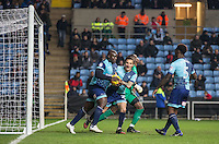 Adebayo Akinfenwa of Wycombe Wanderers with Sam Saunders of Wycombe Wanderers after his goal during the The Checkatrade Trophy - EFL Trophy Semi Final match between Coventry City and Wycombe Wanderers at the Ricoh Arena, Coventry, England on 7 February 2017. Photo by Andy Rowland.