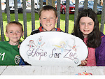 Lee Leonard, Josh Farrell and Chloe Byrne at the Hope For Zoe family funday fundraiser in the Rugby Club. Photo:Colin Bell/pressphotos.ie