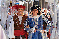 Castelfranco Emilia, Festa di San Nicola - Sagra del Tortellino (Tortellini Festival).<br /> Corteo Storico.<br /> Massimo Bottura, Oste (host) 2011; Monica Larner, Dama 2011.