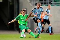RODINGHAUSEN, Voetbal, Rodinghausen - FC Groningen, voorbereiding  seizoen 2017-2018, 15-07-2017, FC Groningen speler Jesper Drost met Maximilan Hippe