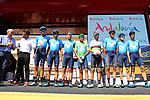 Movistar Team leading team at sign on before Stage 8 of La Vuelta 2019 running 166.9km from Valls to Igualada, Spain. 31st August 2019.<br /> Picture: Luis Angel Gomez/Photogomezsport | Cyclefile<br /> <br /> All photos usage must carry mandatory copyright credit (© Cyclefile | Luis Angel Gomez/Photogomezsport)