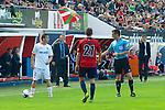 Pamplona. España. Futbol.<br /> Football match during La Liga BBVA.<br /> Osasuna Vs. Valencia.<br /> 19/04/2014<br /> 21     Roberto Torres (CA Osasuna)<br /> 12Joao Pereira (FC Valencia)<br /> Cheftrainer Pizzi (FC Valencia)<br /> Cheftrainer Javier Gracia (CA Osasuna)<br /> Photo RM /photocall3000