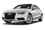 Low aggressive front three quarter view of a 2015 Audi A3 2.0 T DSG 4 Door Sedan