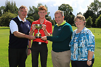 Martin Hynes (Connacht Golf) and Joe Burke (Captain Mountbellew GC) presents the Cup to Eoin Prendergast (Claremorris) winner of the U18's Final during the Connacht U12, U14, U16, U18 Close Finals 2019 in Mountbellew Golf Club, Mountbellew, Co. Galway on Monday 12th August 2019.<br /> <br /> Picture:  Thos Caffrey / www.golffile.ie<br /> <br /> All photos usage must carry mandatory copyright credit (© Golffile | Thos Caffrey)