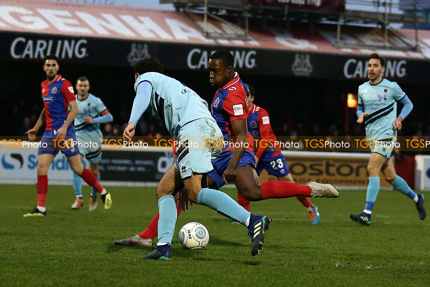 Liam Gordon of Dagenham scores the second goal for his team during Dagenham & Redbridge vs Boreham Wood, Vanarama National League Football at the Chigwell Construction Stadium on 5th January 2019