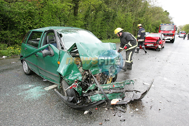 The remains fo the Green Fiat Punto car that was involved in a head on collision with a Red Honda Civic on the N2 Between Ashbourne and Slane at Balrath cross, the Driver of the red Honda is believed dead and the driver of the Green Punto is in a critical condtion in Our Ladys of Lourdes Hospital in Drogheda..Photo NEWSFILE/FRAN CAFFREY..(Photo credit should read FRAN CAFFREY/NEWSFILE)...This Picture has been sent you under the condtions enclosed by:.Newsfile Ltd..the Studio,.Millmount Abbey,.Drogheda,.Co Meath..Ireland..Tel: +353(0)41-9871240.Fax: +353(0)41-9871260.GSM: +353(0)86-2500958.email: pictures@newsfile.ie.www.newsfile.ie.FTP: 193.120.102.198..This picture is from Fran Caffrey@newsfile.ie