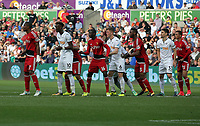 Watford and Swansea players line up for a Swansea free kick during the Premier League match between Swansea City and Watford at The Liberty Stadium, Swansea, Wales, UK. Saturday 23 September 2017