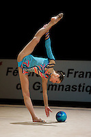 Dominica Cervenkova of Czech Republic holds balance with trunk in horizontal positionl during All-Around competition at 2006 Thiais Grand Prix in Paris, France on March 25, 2006.  (Photo by Tom Theobald)