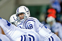 December 17, 2009:    Indianapolis Colts quarterback Peyton Manning (18) during AFC South Conference action between the Indianapolis Colts and Jacksonville Jaguars at Jacksonville Municipal Stadium in Jacksonville, Florida.  Indianapolis defeated Jacksonville 35-31............