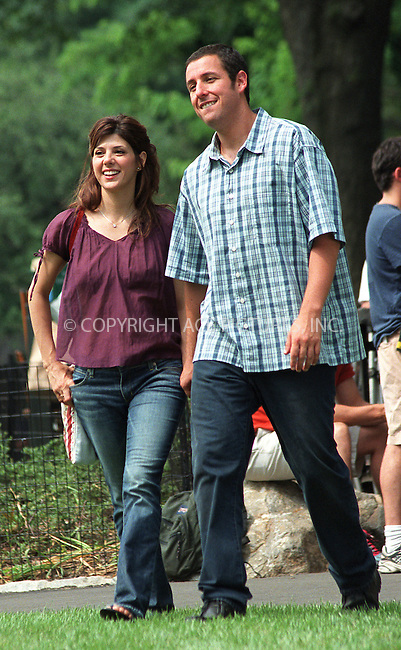 "Marisa Tomei and Adam Sandler on the set of ""Anger Management"" in Central Park, New York, July 1, 2002. Please byline: Alecsey Boldeskul/NY Photo Press.   ..*PAY-PER-USE*      ....NY Photo Press:  ..phone (646) 267-6913;   ..e-mail: info@nyphotopress.com"