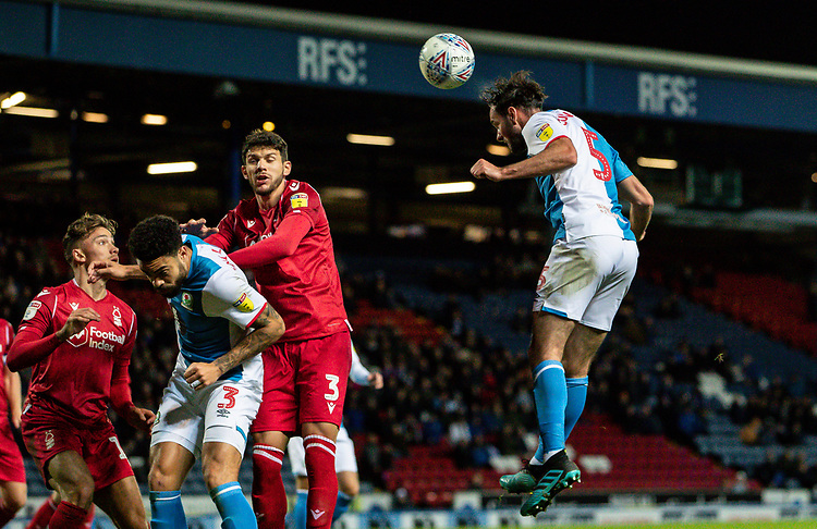 Blackburn Rovers' Greg Cunningham (right) heads at goal<br /> <br /> Photographer Andrew Kearns/CameraSport<br /> <br /> The EFL Sky Bet Championship - Blackburn Rovers v Nottingham Forest - Tuesday 1st October 2019  - Ewood Park - Blackburn<br /> <br /> World Copyright © 2019 CameraSport. All rights reserved. 43 Linden Ave. Countesthorpe. Leicester. England. LE8 5PG - Tel: +44 (0) 116 277 4147 - admin@camerasport.com - www.camerasport.com