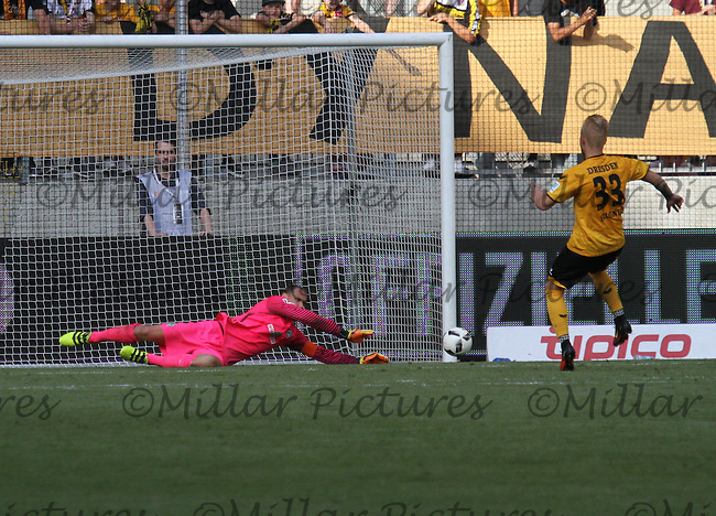 Jaroslav Drobny saves the penalty of Marcel Hilßner in the shootout in the Dynamo Dresden v Werder Bremen match in the Bundeswehr Karriere Cup Dresden 2016 played at the DDV Stadion, Dresden on 30.7.16.