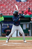 Cedar Rapids Kernels shortstop Yeltsin Encarnacion (43) during a Midwest League game against the Kane County Cougars at Northwestern Medicine Field on April 28, 2019 in Geneva, Illinois. Cedar Rapids defeated Kane County 3-2 in game two of a doubleheader. (Zachary Lucy/Four Seam Images)