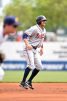 Mississippi Braves first baseman Seth Loman (22) leads off second during a game against the Montgomery Biscuits on April 22, 2014 at Riverwalk Stadium in Montgomery, Alabama.  Mississippi defeated Montgomery 6-2.  (Mike Janes/Four Seam Images)