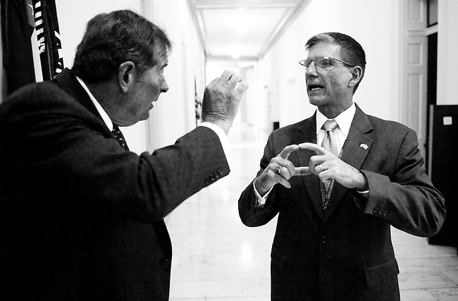 Rep.-elect Joe Heck, R-Nev., right, describes the location of his Las Vegas district to former Congressman Buddy Darden, D-Ga., as Heck takes a look at offices in the Cannon building on Nov. 18, 2001, which will be available in the House office lottery for the newly elected members of Congress on Friday morning. (Photo By Bill Clark/Roll Call)