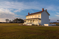 Cape Hatteras National Seashore, North Carolina: Bodie Island lighthouse keeper's  house  (1872) on North Carolina's Outer Banks
