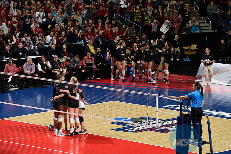 COLUMBUS, OH - DECEMBER 17:  Stanford University celebrates a point against the University of Texas during the Division I Women's Volleyball Championship held at Nationwide Arena on December 17, 2016 in Columbus, Ohio.  Stanford defeated Texas 3-1 to win the national title. (Photo by Jamie Schwaberow/NCAA Photos via Getty Images)