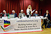 Rainbow Hamlets Mayor of Tower Hamlets Hustings in Bethnal Green, London, Great Britain <br /> 1st June 2015 <br /> <br /> <br /> John Foster <br /> Green Party <br /> <br /> John Biggs <br /> Labour <br /> <br /> Jack Gilbert <br /> Rainbow Hamlets<br /> <br /> Andy Erlam <br /> Red Flag <br /> <br /> Vanessa Helen Hudson <br /> Animal Welfare <br /> <br /> Peter Golds<br /> Conservative<br /> <br /> Elaine Bagshaw <br /> Liberal Democrats <br /> <br /> <br /> Photograph by Elliott Franks <br /> Image licensed to Elliott Franks Photography Services