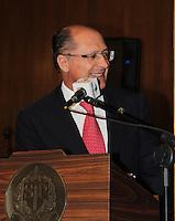 """SAO PAULO, SP, 09 DE FEVEREIRO 2012. O Governador Geraldo Alckmin, na abertura do seminário """"Cidade Base - Oportunidades e Desafios em sediar Centros de Treinamento de Seleções para a Copa do Mundo da FIFA Brasil 2014"""", no Palacio dos Bandeirantes, regiao sul de SP, na manha desta quinta-feira, 09. (FOTO: MILENE CARDOSO - NEWS FREE)"""