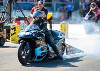 Oct 20, 2019; Ennis, TX, USA; NHRA pro stock motorcycle rider Jianna Salinas during the Fall Nationals at the Texas Motorplex. Mandatory Credit: Mark J. Rebilas-USA TODAY Sports